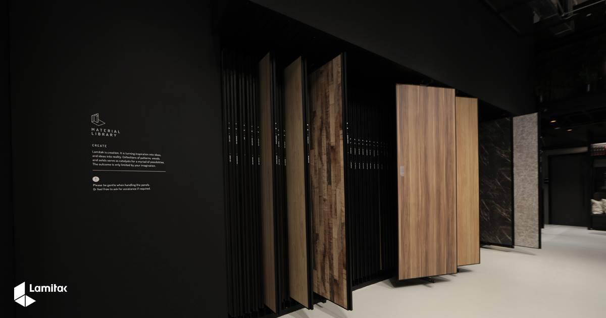 Large panels displaying Lamitak laminate designs for visitors to browse