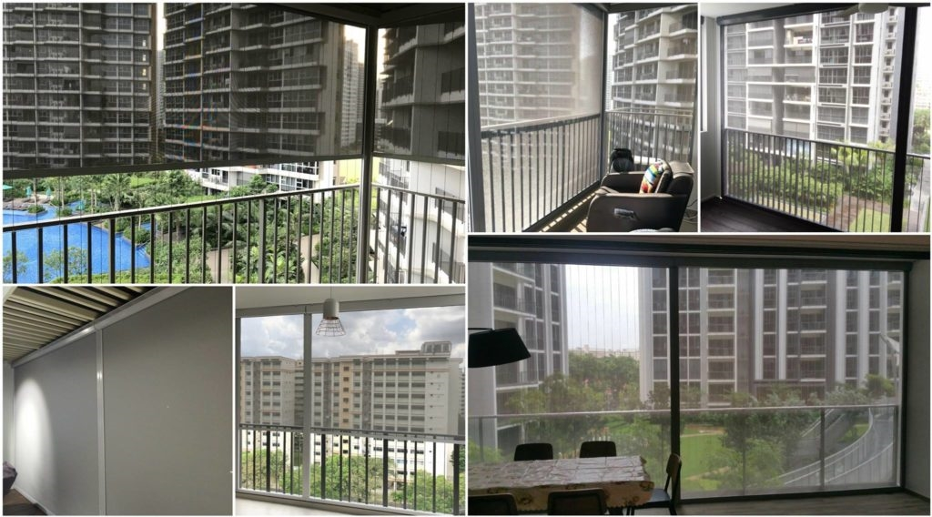 A photo collection featuring ALTEX SecureZIP outdoor blinds