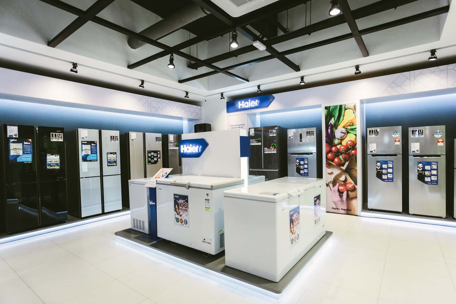 Modern refrigerators displayed at the Haier Experience Centre.