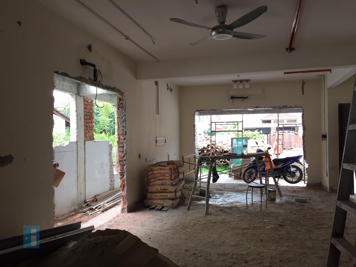 Interior restructuring during renovation by Yong Studio for terrace house in Malaysia